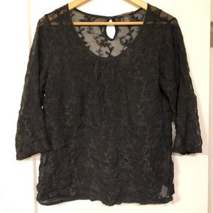 Lucky Brand all lace black top with cami